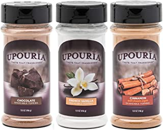 Upouria Coffee Topping Variety Pack - Chocolate, Cinnamon with Brown Sugar, and French Vanilla, 5.5 Ounce Shakeable Toppin...