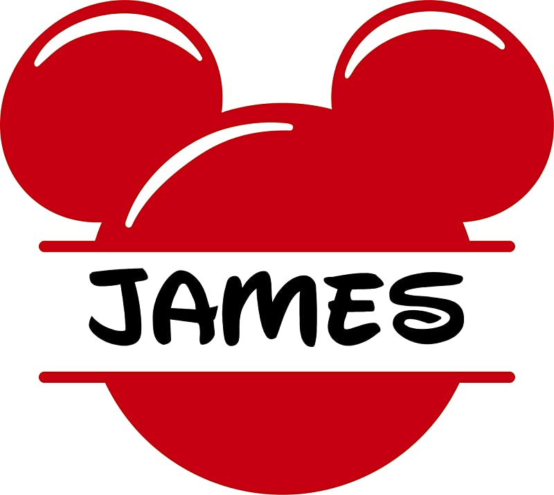 Mickey Mouse Face Personalized Custom Name Wall Decals Wall Design Stickers Vinyl Removable Children Kids Rooms Girls Boys Baby Nursery Cartoon Size 14x14 Inch
