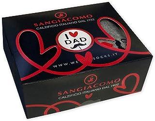 SANGIACOMO WE LOVE SOCKS, Paquete regalo Día del Padre con 2 pares de calcetines – 1 azul + 1 con diseño