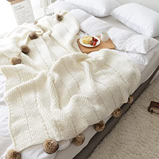 LakeMono Acrylic Iceland Wool Knitted Throw Blanket, Super Soft Couch/Sofa/Bed Cover Quilt with Handmade Pompoms (White, 51.18