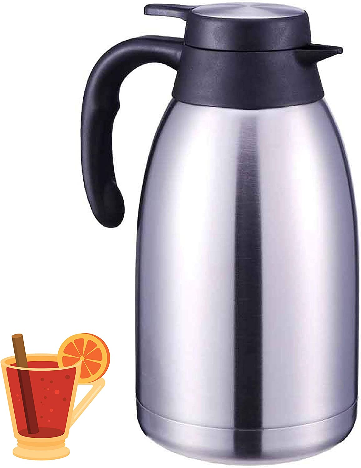 Up tp 12 Hours Heat Retention and 24 Hrs Cold Retention 64 Oz Coffee Karaffe Stainless Steel Insulated Double Walled Vacuum Thermos 2 Quart Thermal Coffee Carafe by Korkmaz A596-02