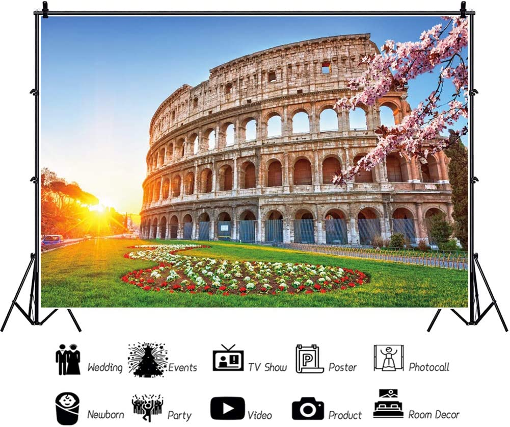 OERJU 8x6ft Rome Colosseum Backdrop Spring Flowers Grassland Sunrise Itlay World Famous Historic Site Background for Photography Vlogger Blogger Live Background Wall