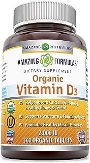Amazing Formulas Organic Vitamin D3 2000 IU 360 Certified Organic Tablets - Important Vitamin For Optimal Body Function- S...