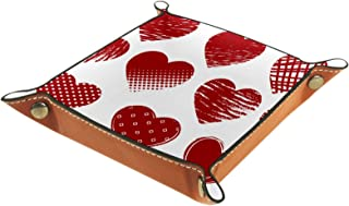FCZ Plateau de rangement en cuir rouge pour la Saint Valentin, motif cœurs grunges - Boîte de rangement pour bijoux, clés,...