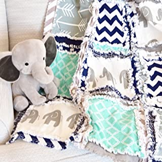 Elephant Blanket - Mint/Gray/Navy - QUILT Only