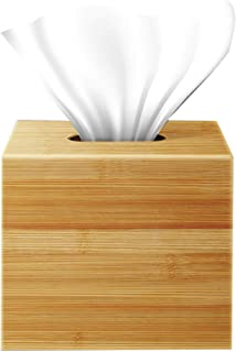 Square Bamboo Tissue Box Cover, Anti-Microbial Water Resistant Wooden Facial Tissue Box for Bathroom, Office Desk, Nightst...