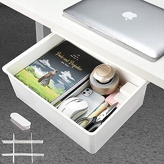 Desk Drawer[X-Large], GGIANTGO Under Desk Storage, Set for Office/Bedroom/Schoolroom/Kitchen, Self-Adhesive Under Desk Dra...