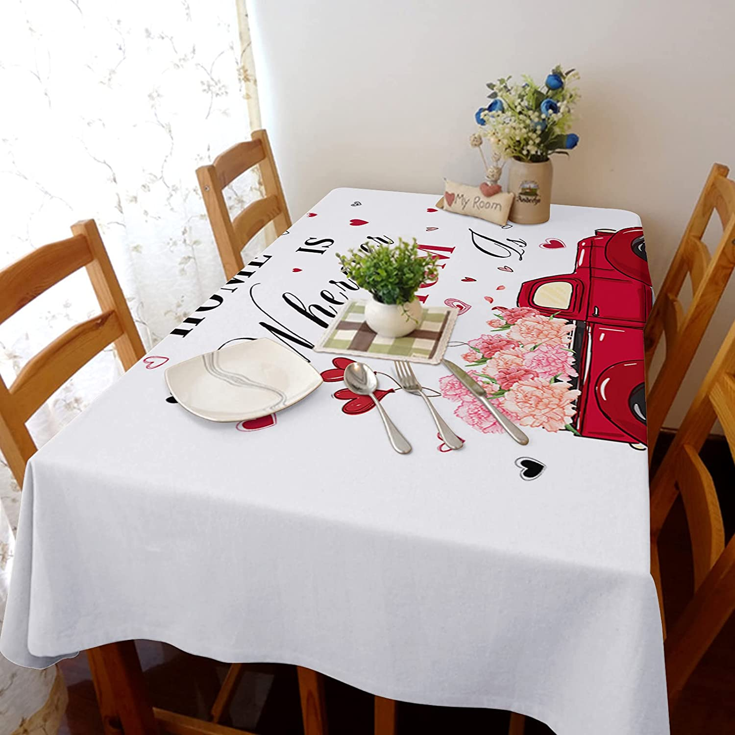 Tablecloth Albuquerque Mall for Store Dinning Room Mother's Loves Rec Day Flowers Truck