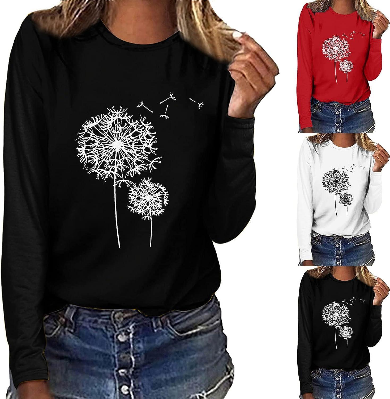 Womens Long Sleeve Tops,Womens Crewneck Sweatshirt Fashion Dandelion Print Tunic Long Sleeve Sweater Pullover Top