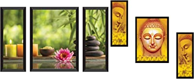 SAF 'Lotus' Flower Designer Painting (Synthetic, 28.5 Inch X 19.5 Inch, Set of 3) & Up Textured Buddha Print Framed Painting Set of 3 for Home Decoration – Size 35 X 2 X 50 cm Combo