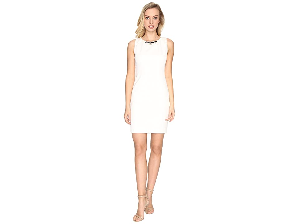 Jessica Simpson Embellished Neck Dress (Ivory) Women