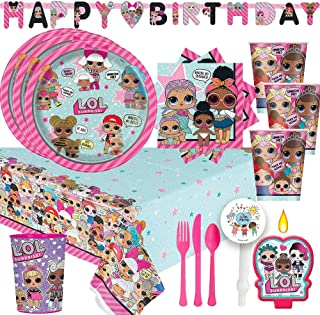 LOL Surprise Party Supplies Pack With Decorations For 16 With Plates, Cups, Napkins, Cutlery, Birthday Banner, Tablecover, 1 Favor Cup, Candle, and Exclusive Pin