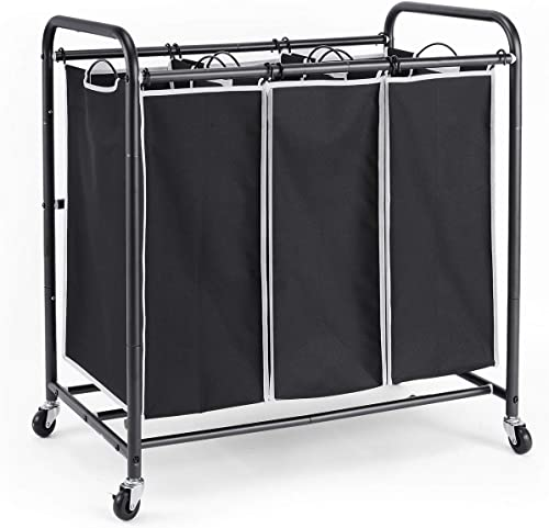 ROMOON Laundry Sorter, 3 Bag Laundry Hamper Sorter with Rolling Heavy Duty Casters, Laundry Organizer Cart for Clothe...