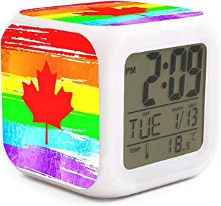 BIAOSD Digital Alarm Clocks Kids Rainbow Canada Flag LED Night Glowing Cube LCD Clock Bedroom Bedside Clocks