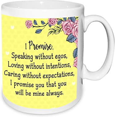 It is Much Better to Promise Day Valentines Day Quotation Photo Frame & Mug Hamper with 5 Roses Heart