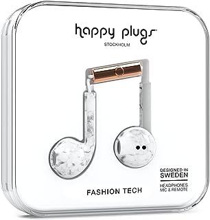 Happy Plugs Earbud Plus Bedraad - Modieuze Hoofdtelefoon met Microfoon, 3,5 mm Hoofdtelefoon Jack (Wit Marmer) (Wit Marmer)