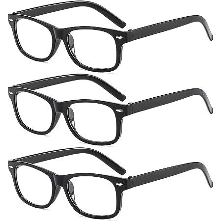 Lesebrillen Sehhilfe Augenoptik Feder Scharnier Brille Lesehilfe f/ür Damen Herren von BM161 0.0x 3 Pack Suertree Anti-blaue