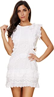 Women's Sleeveless Lace Stitching Hollow Club Wedding Party Dress