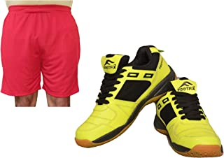 FOOTFIX Men's Squash Yellow (Non Marking) Gym, Badminton Sports Shoes with Free Red Shorts