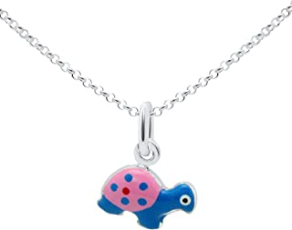 Sterling Silver 925 Childrens Kids Pendant Necklace with Enamel Charm Italy