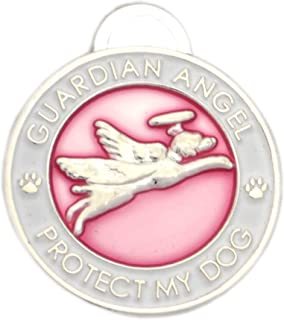 Luxepets Pet Collar Charm, Guardian Angel Dog, Pink