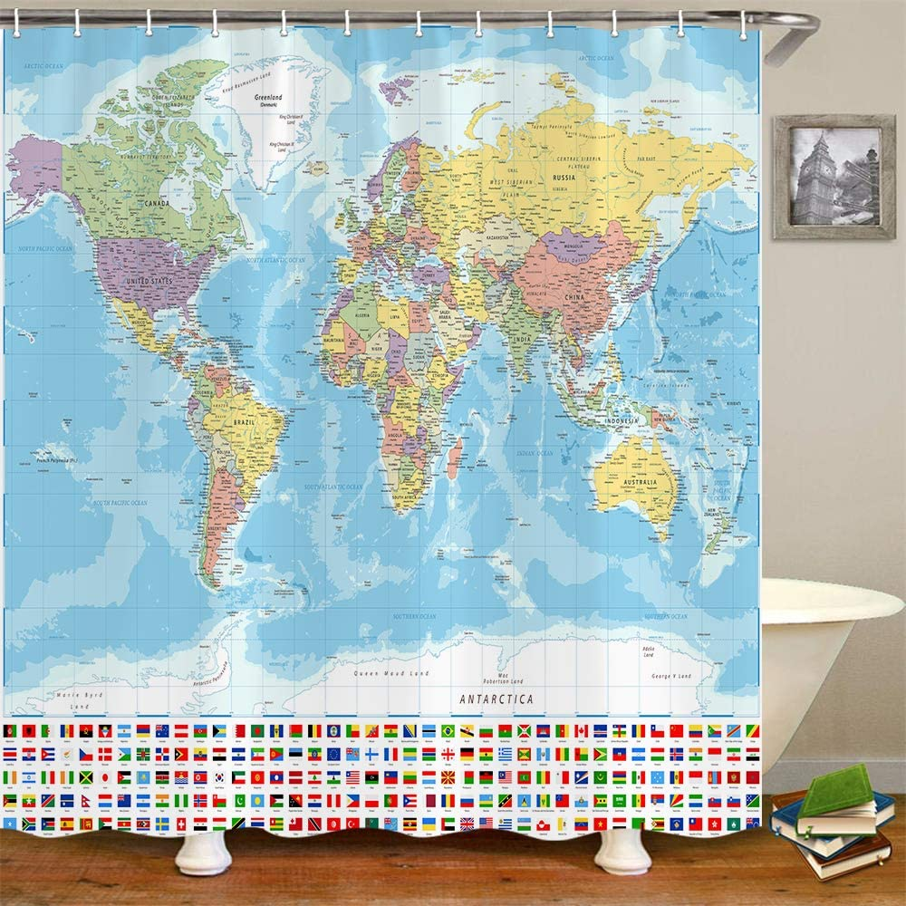 World Map Shower Curtain, World Map with Detailed Major and Cities National Flag Bathroom Curtain, Educational World Map Fabric Bathroom Shower Curtain with Hooks, Kids Bathroom Decor 69x70 Inches