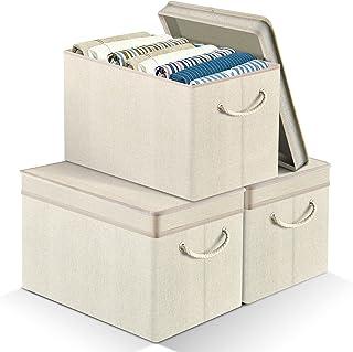 APLKER Lot de 3 Boîte de Rangement Pliable Grand Paniers et Boîtes de Rangement Tissu avec Couvercles e Poignées pour Vête...