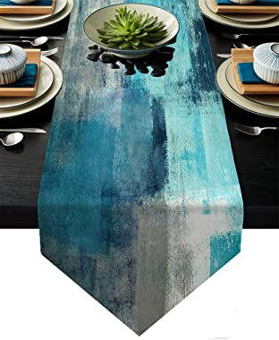 AILUER Turquoise and Grey Table Runner,Teal Abstract Modern Art Burlap Table Runners for Table Dresser Runner Farmhouse Style