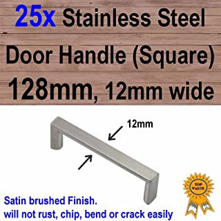 25x Cabinet Cupboard Door Drawer Handles -Stainless Steel 128mm 12mm Square
