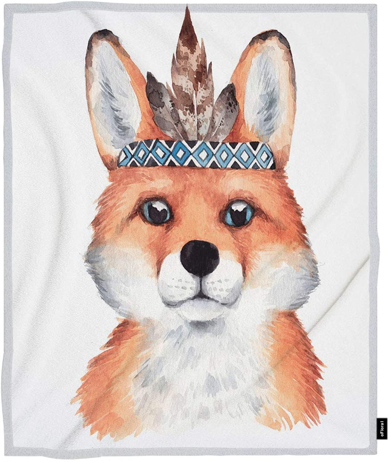 OFloral Fox Throw Blanket Forest Baby Kid Animal Boho Fox Feather Wreath Decorative Soft Warm Cozy Blankets Home Decor for Bed Chain Sofa Couch 60x80 Inch