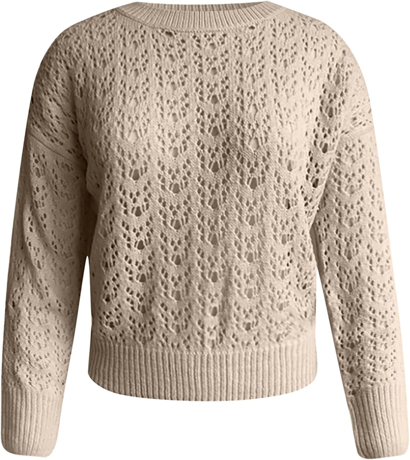 Womens Sweaters Fall Solid Crew Neck Crop Tops Casual Long Sleeve Bottoming Shirt Fashion Hollow Out Knitwear