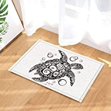 Jszna Creative Turtle Painting in Black and White Bath Rugs for Bathroom Non-Slip Floor Entryways Outdoor Indoor Front Door Mat Kids Bath Mat 15.7x23.6in