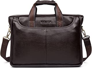 BOSTANTEN Leather Briefcase Laptop Messenger Business Bags for Men Brown 15.6 Inch