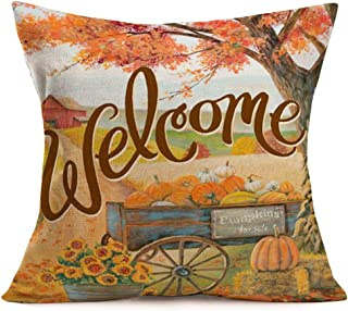 Asamour Fall Pumpkins for Sale Carts Throw Pillow Covers Welcome Autumn Quote with Maple Leaves Sunflower Farmhouse Decor Pillowcase Cotton Linen Throw Pillow Case Cushion Cover 18''x18'' for Sofa