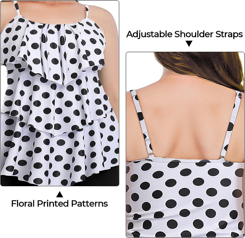 Summer Mae Women Plus Size Two Piece Tankini Swimsuit Layered Ruffle Flounce Top with Boyshorts Bathing Suits