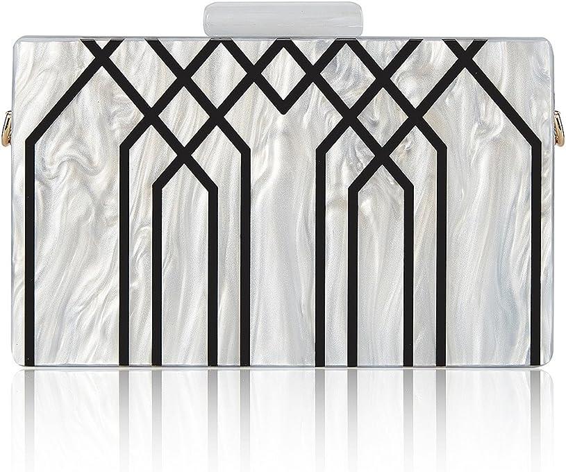 GGBAZZARA Evening Handbag Box Acrylic Clutch Stripes Shoulder Bag for Party Champagne Evening Bag