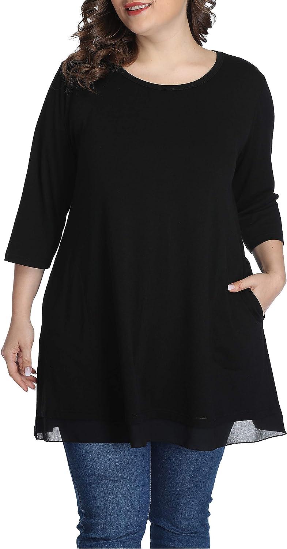 Autumn Plus Size Tops for Women Hidden Pocket Shirts Long Tunic(1X,Black)