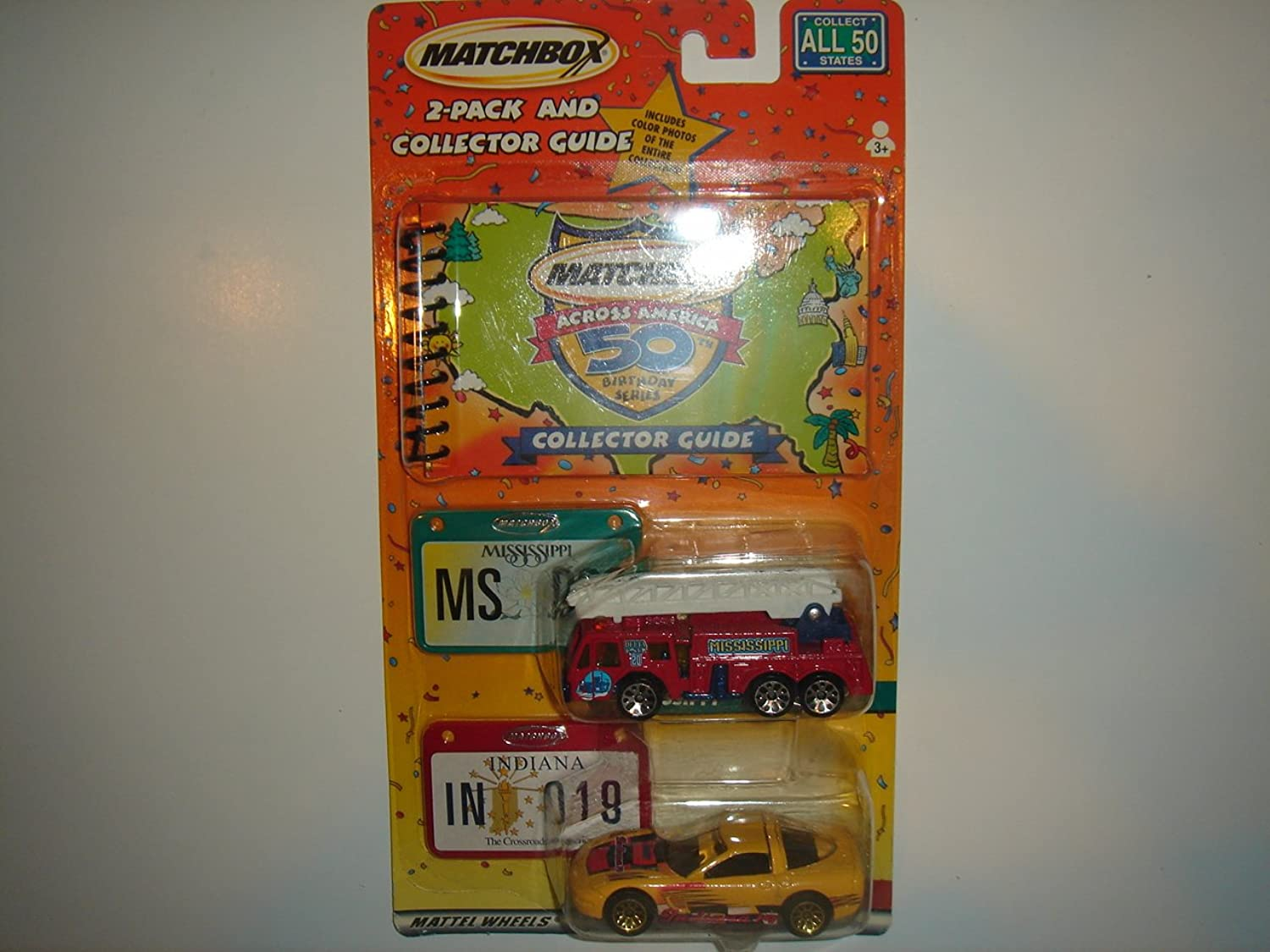 2001 Matchbox Across America 2 Pack With Collector Guide Mississippi Extending Ladder Fire Truck & Indiana 1997 Chevrolet Corvette by Mattel