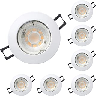 Foco empotrable para techo de aluminio circular blanco, incluye bombilla LED GU10 7W 520 lumens, Luz cálida 3000k, orificio de montaje ø62mm, Pack 6 unidades
