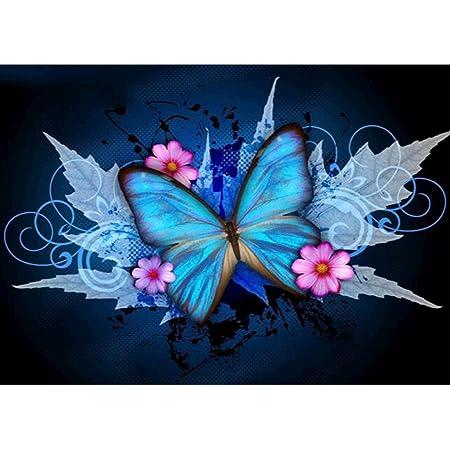 5D-Diamantgem/älde zum Selbermachen Strasssteine Kreuzstich Diamantgem/älde lilafarbener Schmetterling voller Bohrer Kristall-Stickerei Bilder Kunsthandwerk f/ür Erwachsene und Kinder