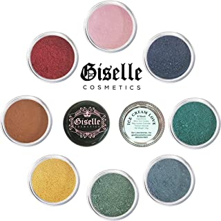 Giselle Cosmetics EyeShadow Palette - Mineral Makeup Eyeshadow Powder, Foundation, Concealer, Blush, and Contouring Palette | Pure, Non-Diluted Shimmer Mineral Make Up in 8 Ice Cream Hues and Shades | For All Skin