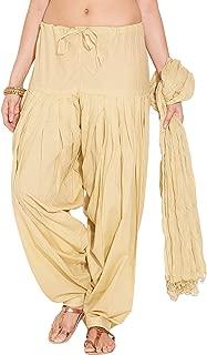 Swarezi Women's Cotton Plain Patiala Salwar with Dupatta Set (Size: Free Size, Length: 41 Inches) Color Cream