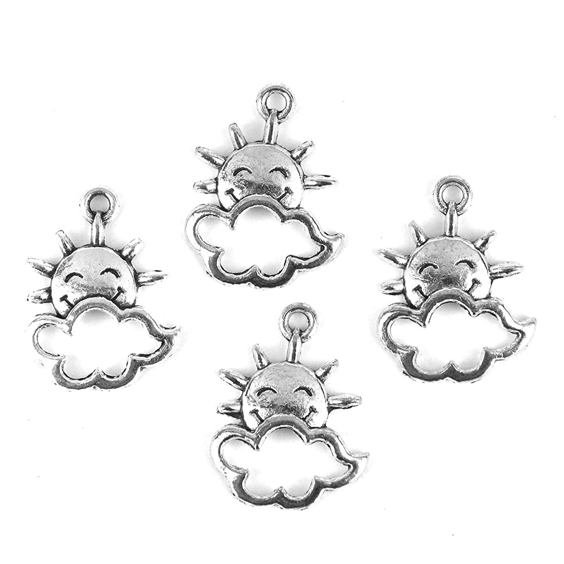 Monrocco 80pcs Antique Vintage Tibetan Silver Sun Cloud Charms Alloy Sun Smile Sun Metal Pendants for Jewelry Making DIY Findings