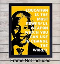 Nelson Mandela Inspirational Quote - Unframed Wall Art Print - Perfect for Classroom, Office and Home Decor - Makes a Great Motivational Gift - Ready to Frame Photo (8X10)
