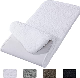 Lifewit Bathroom Rug Bath Mat Non-Slip Rubber Microfiber Soft Water Absorbent Thick Shaggy Floor Mats, Machine Washable, White,59