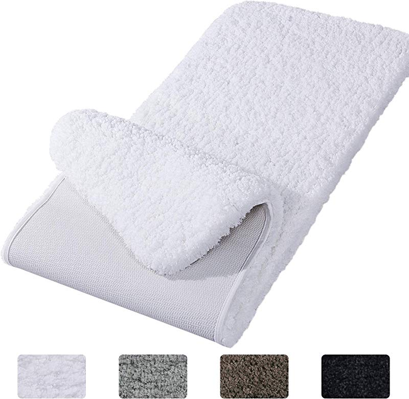 Lifewit Bathroom Rug Bath Mat Non Slip Rubber Microfiber Soft Water Absorbent Thick Shaggy Floor Mats Machine Washable White 59 X20