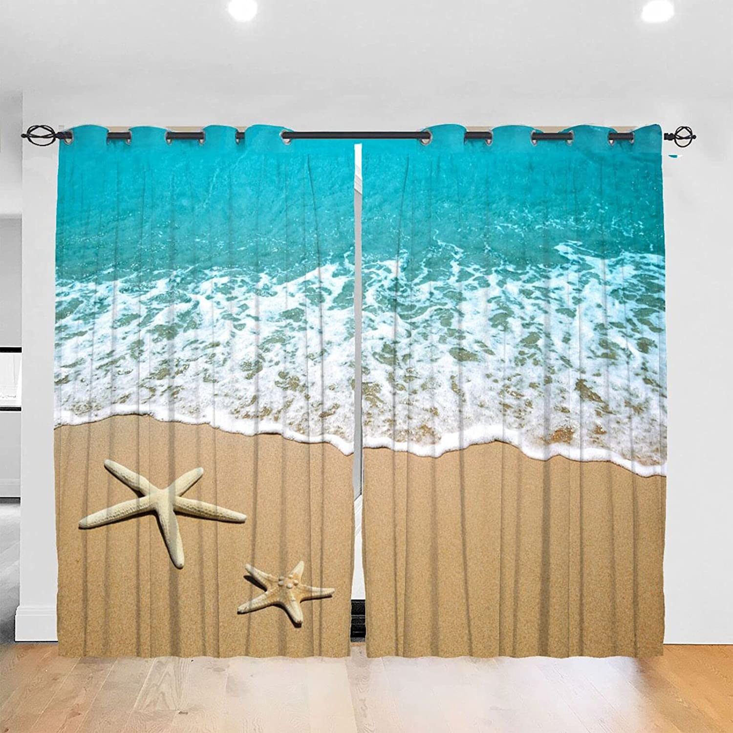 Beach Blackout Curtains 52x84 Inch Set Pa 2 Max 75% OFF of Directly managed store Darkening Window