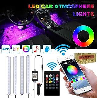 Holahoney Interior Car LED Strip Light Upgrade Waterproof 4pcs 48 LED Bluetooth APP Controller Lighting Kits, Multi DIY Co...