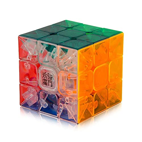 Speed Cube , Roxenda 3x3x3 Yulong Transparent Speed Cube Stickerless Smooth Magic Cube Puzzle