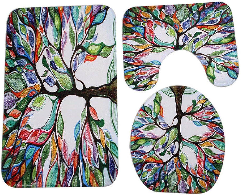 GMYANMTD 3 Stücke Pastoralen Pastoralen Pastoralen Stil Lebensbaum Anti-rutsch-wc Teppich Bad Matte Korallen Samt Wc-matten für DREI Sätze von Badematte B07HF8RPJD 2d8d45